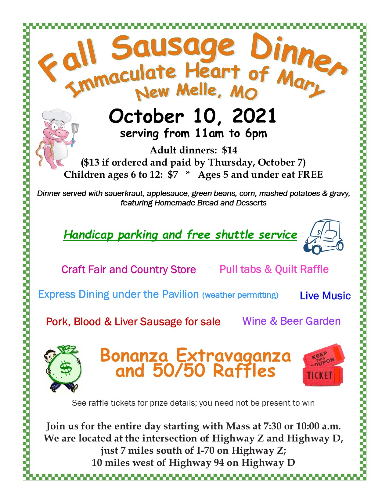 IHM, New Melle, Fall Sausage Dinner Flyer